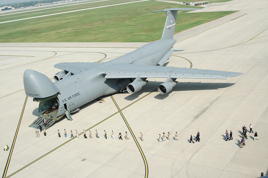Troops loading onto a U.S. Air Force C-5 Galaxy