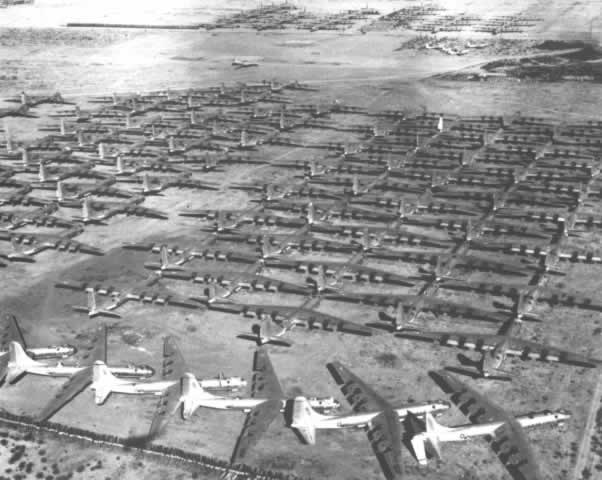 Aerial view of Convair B-36 Peacemakers at Davis-Monthan AFB awaiting scrapping