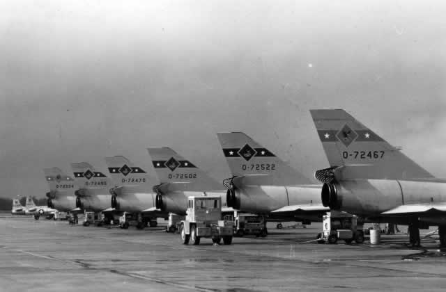 Convair F-106 Delta Darts parked on the apron