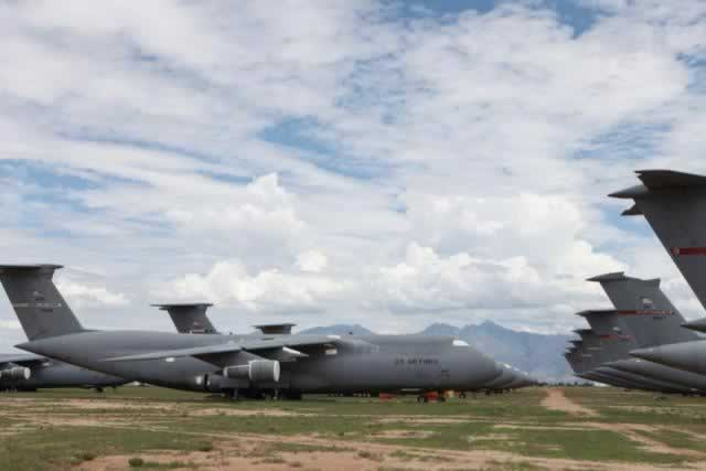 C-5A Galaxy transports in storage at Davis-Monthan Air Force Base AMARG
