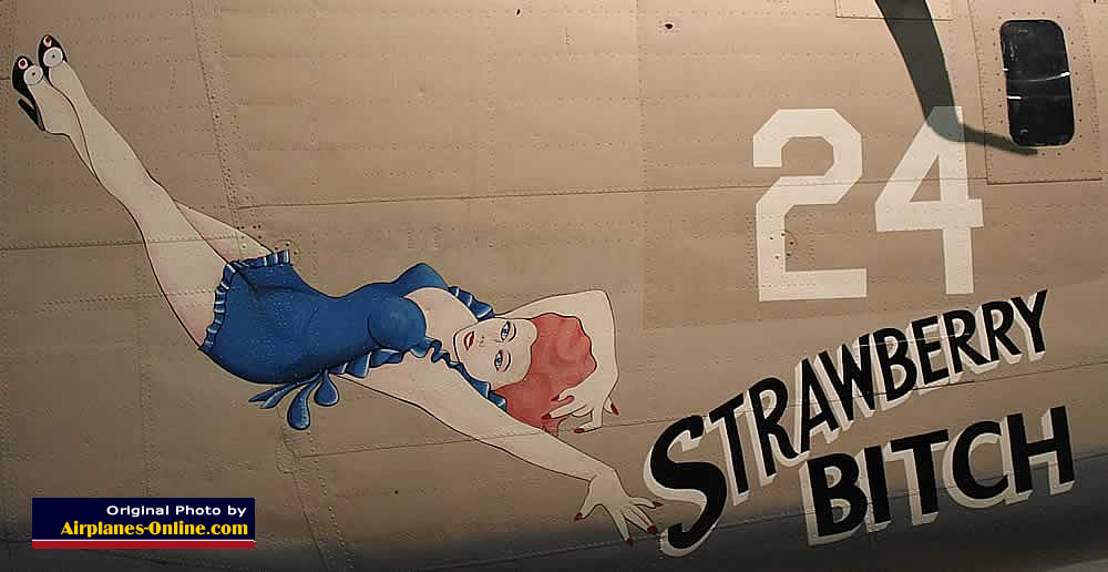 "Nose art on B-24 Liberator ""Strawberry Bitch"""