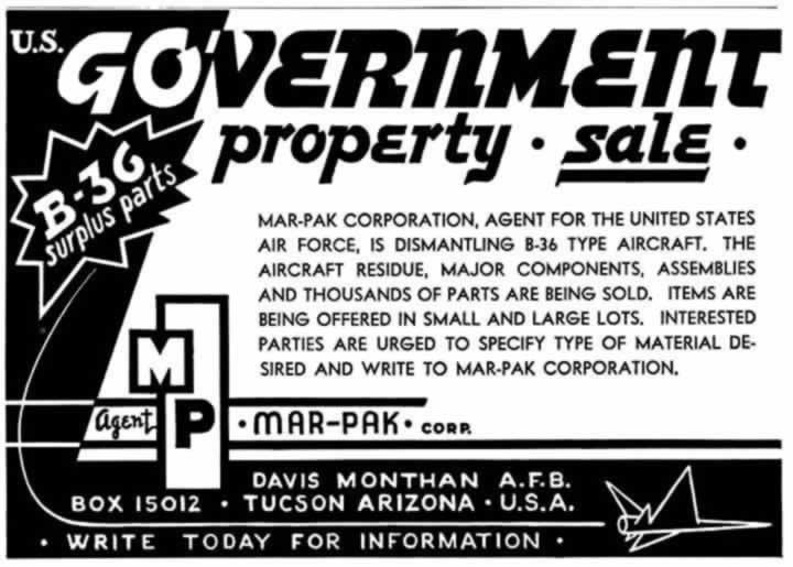 Mar-Pak Corporation ad for the sale of B-36 surplus components at its Davis-Monthan facility in Tucson, AZ