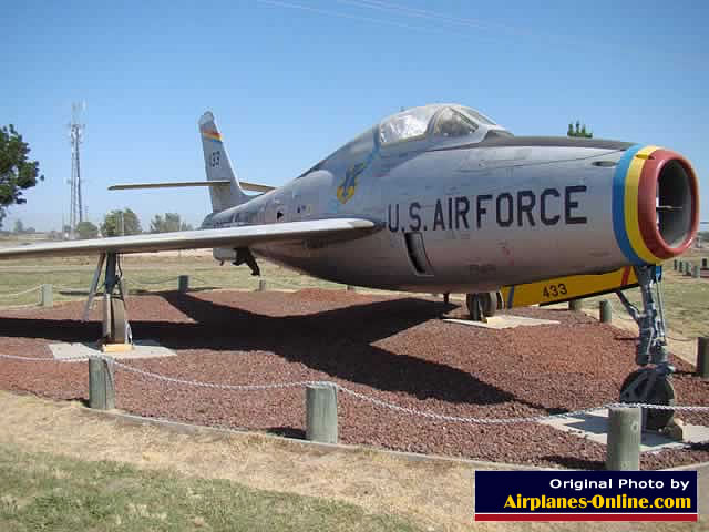Republic F-84F Thunderstreak S/N 51-9433 on display at the Castle Air Museum in California