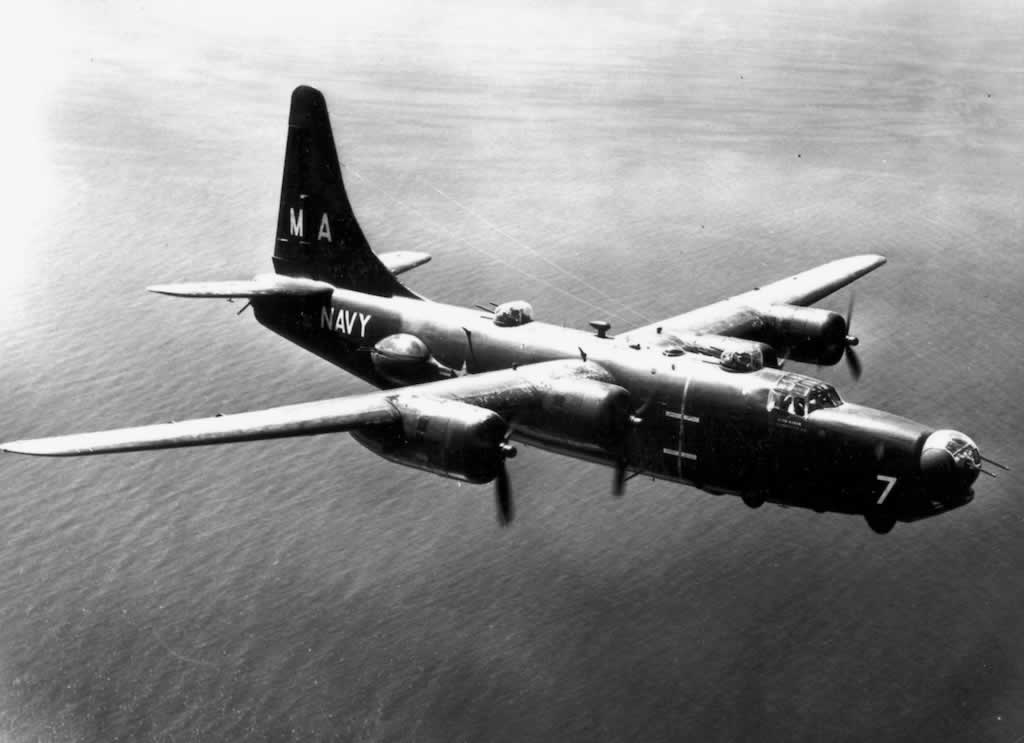 U.S. Navy PB4Y-2 Privateer in flight over the ocean