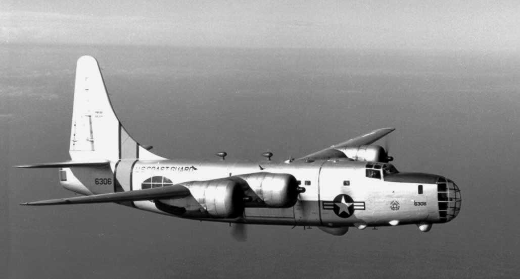 United States Coast Guard PB4Y-2 Privateer 6306 in flight over the ocean