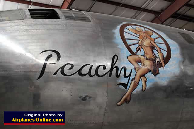 "Nose art on B-29 Superfortress ""Peachy""  in Colorado"