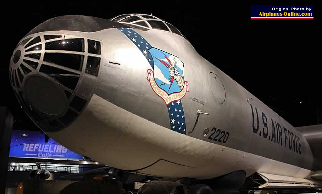 Cockpit view of the B-36J Peacemaker with the shield of the Strategic Air Command logo