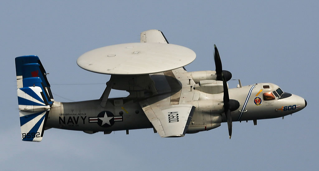 "E-2D Hawkeye assigned to the ""Bluetails"" in flight"